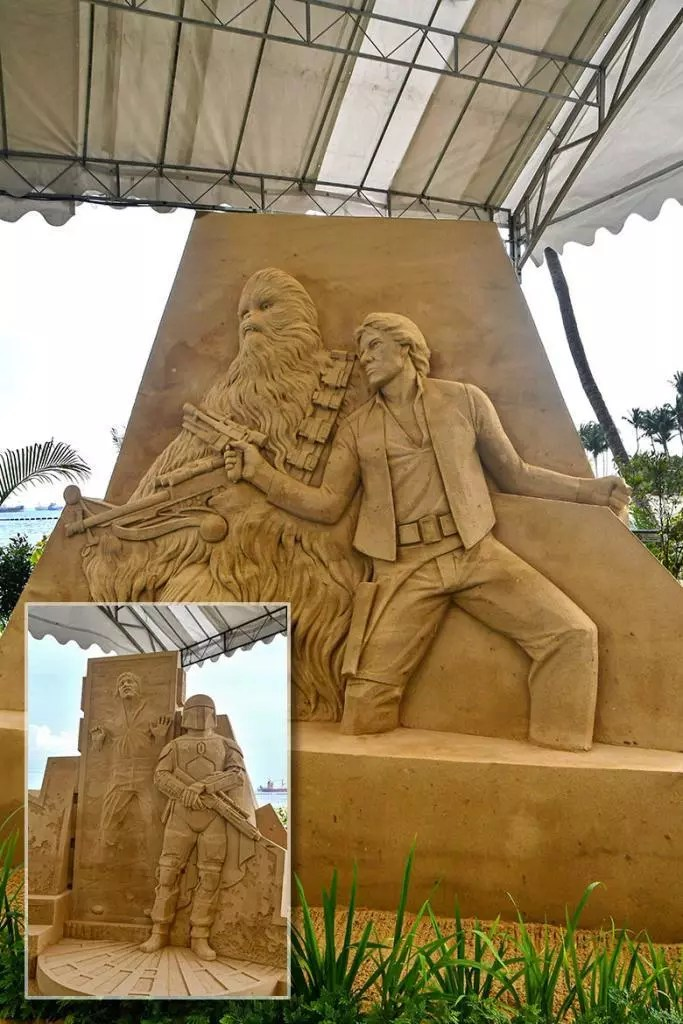 Han Solo and Chewbacca | Sentosa Sandsation STAR WARS Edition