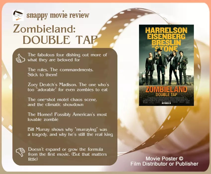 Zombieland: Double Tap Movie Review: 6 thumbs-up and 1 thumbs-down