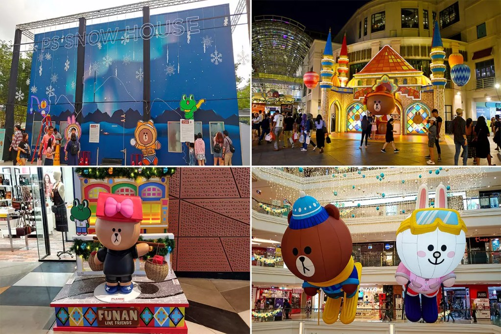 Line Mascots Themed Christmas Decorations at CapitalLand Malls, Singapore.
