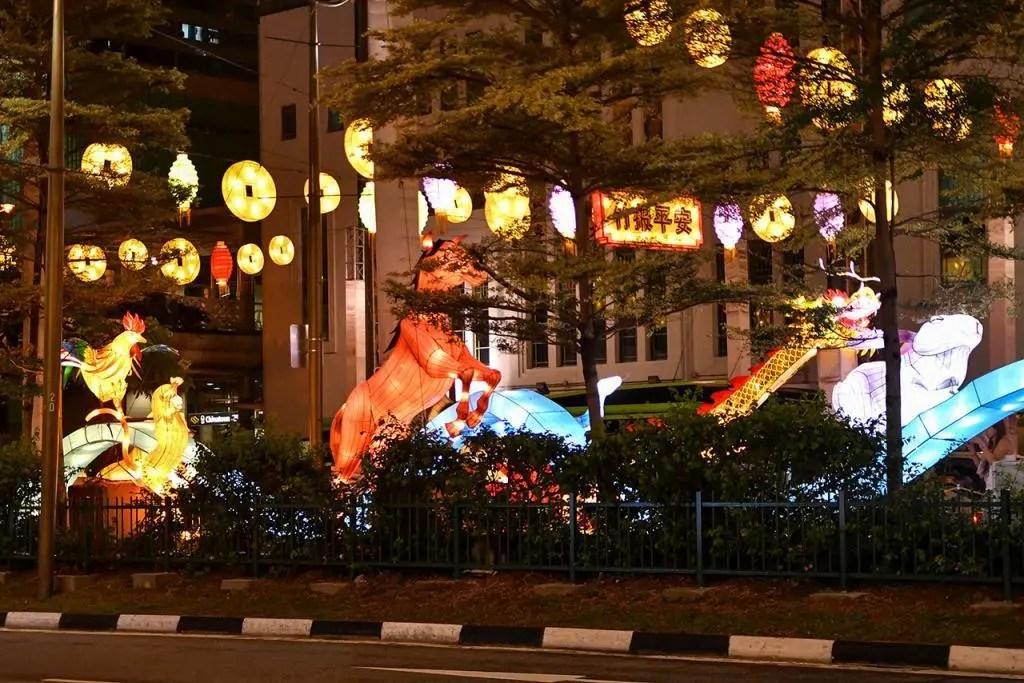 Illuminated Chinese Zodiac Animals in Chinatown, Singapore.