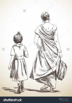 sketch walking hand daughter mother illustration drawn sketches mom drawings figure drawing amma vector indian paintings woman human simple sketching