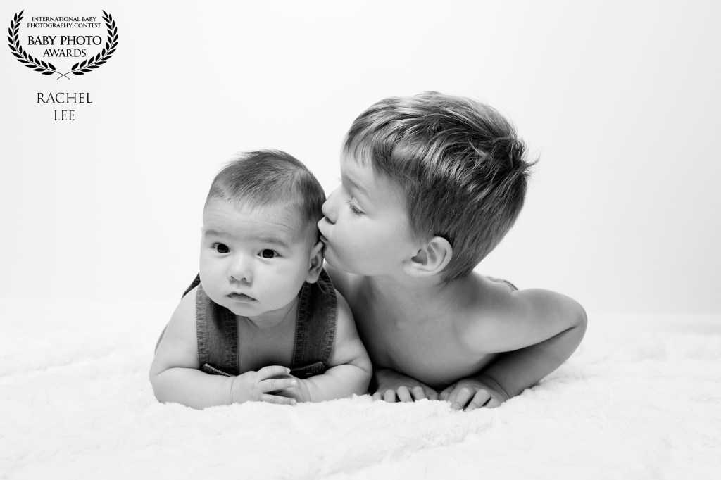 award winning photographer black and white baby boy big brother siblings