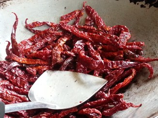 Chillies for Rendang,we need to fry it so it will enhance the flavor.