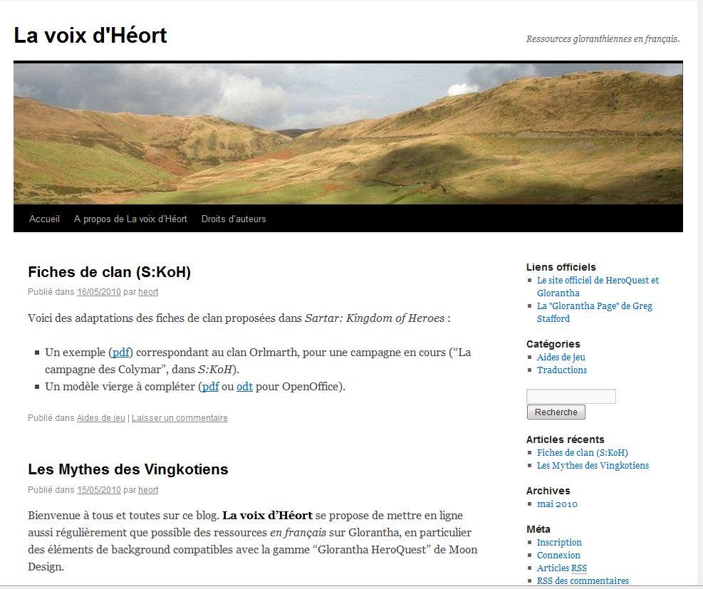 La voix d'Héort - Ressources Gloranthiennes en français