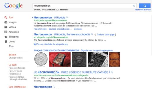 Rechercher le Necronomicon sur Google c'est pas bien compliqué