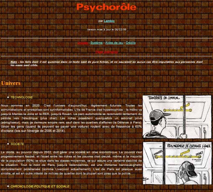 psychorole, le jeu de role dystopique