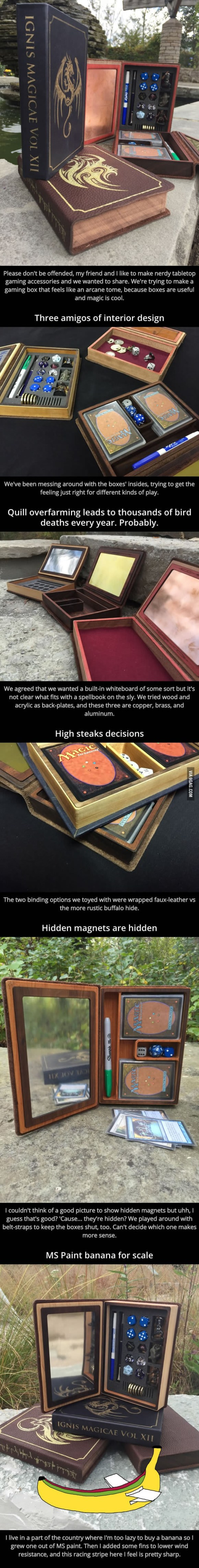 They made some spellbook-styled gaming boxes