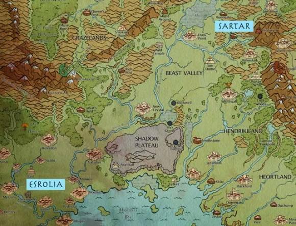 carte de Esrolia et Sartar