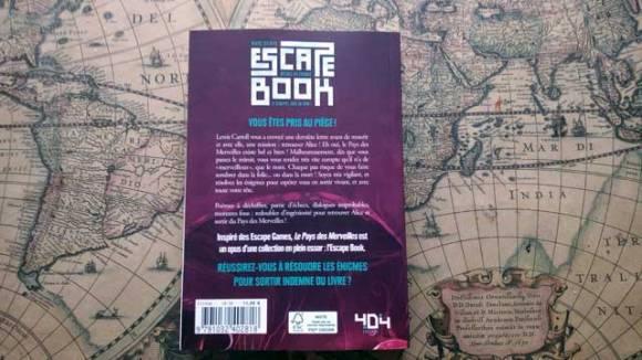 Le dos de l'escape book - Le Pays des Merveilles