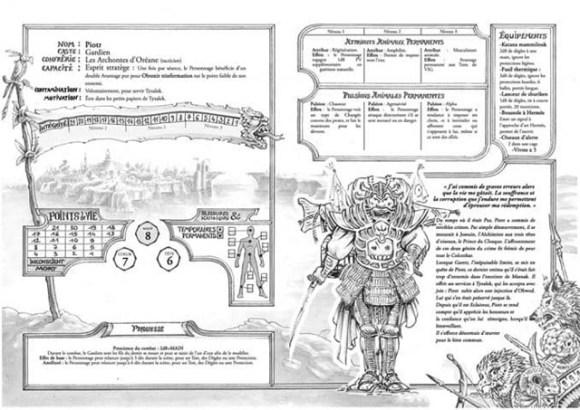 Fiche de personnage prétiré du jeu de rôle Les Terres de Matnak
