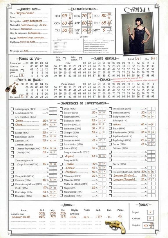 Fiche de personnage Miss Fisher pour Appel de Cthulhu v8 7eme Edition