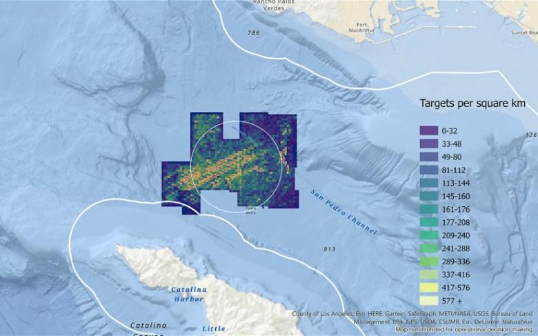 Heat map showing debris field in the survey area