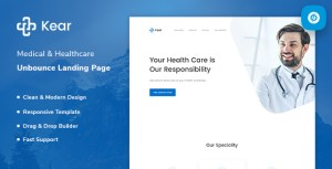 Kear - Medical & Healthcare Unbounce Landing Page Template