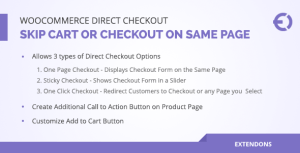 Woocommerce Direct Checkout, Skip Cart / Checkout on Same Page