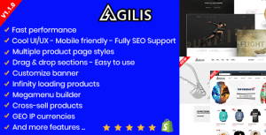 Agilis - Responsive Shopify Sections Theme - Google Pagespeed 99/100 - Cross-Sell - Full SEO Support