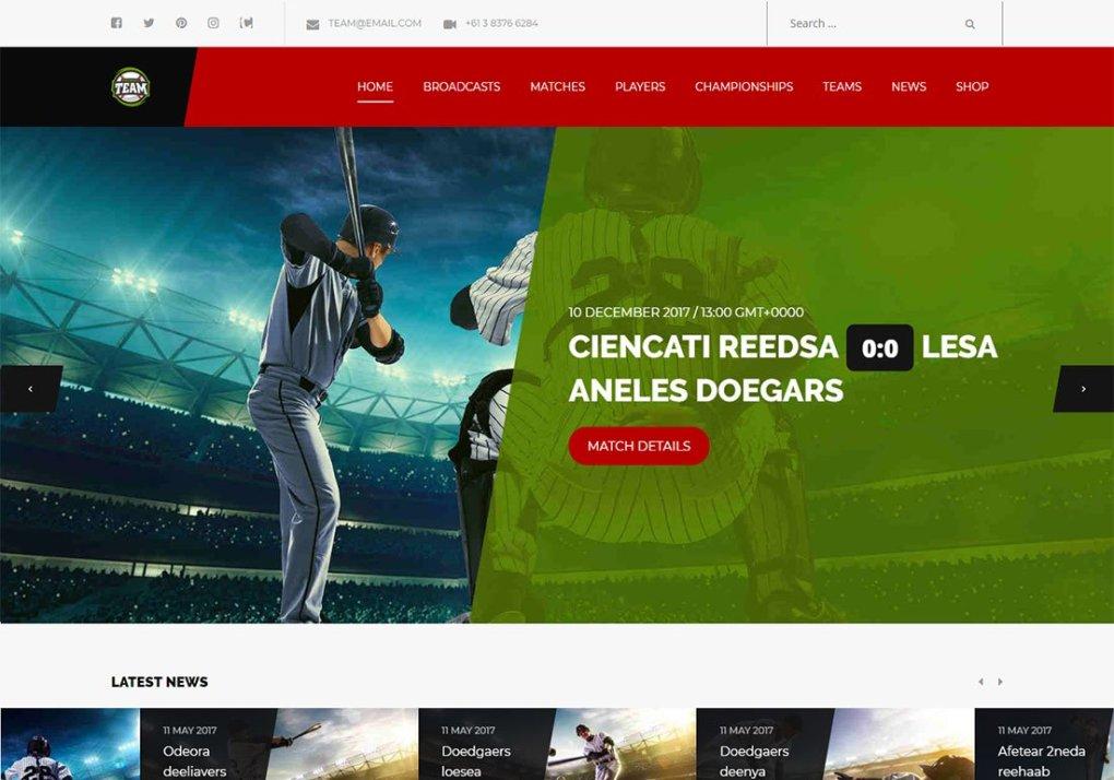 Thème WordPress Team Baseball