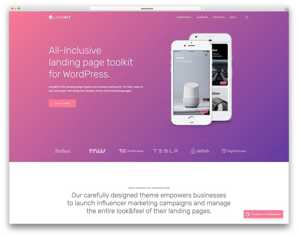 Page de destination de l'application Landkiit Mobile