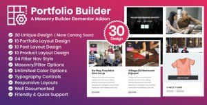 Portfolio Builder - Post/Product/Portfolio Masonry Filter Elementor Addon Plugin