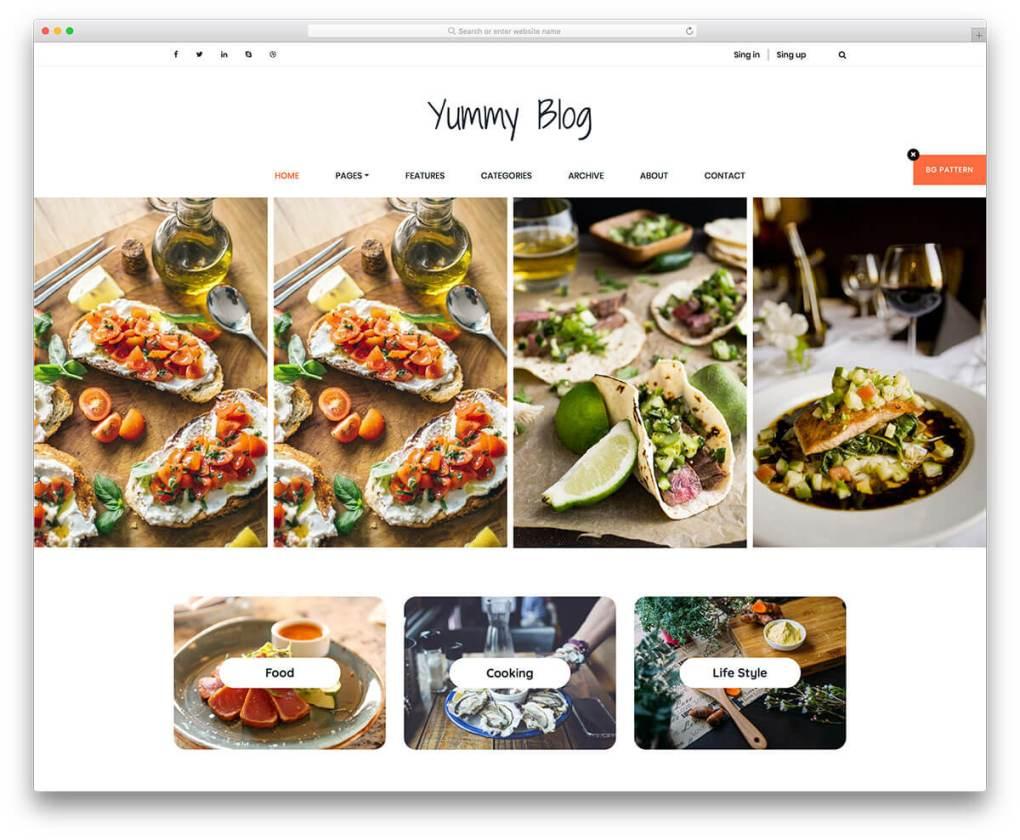 modèle de blog de nourriture gratuite délicieux