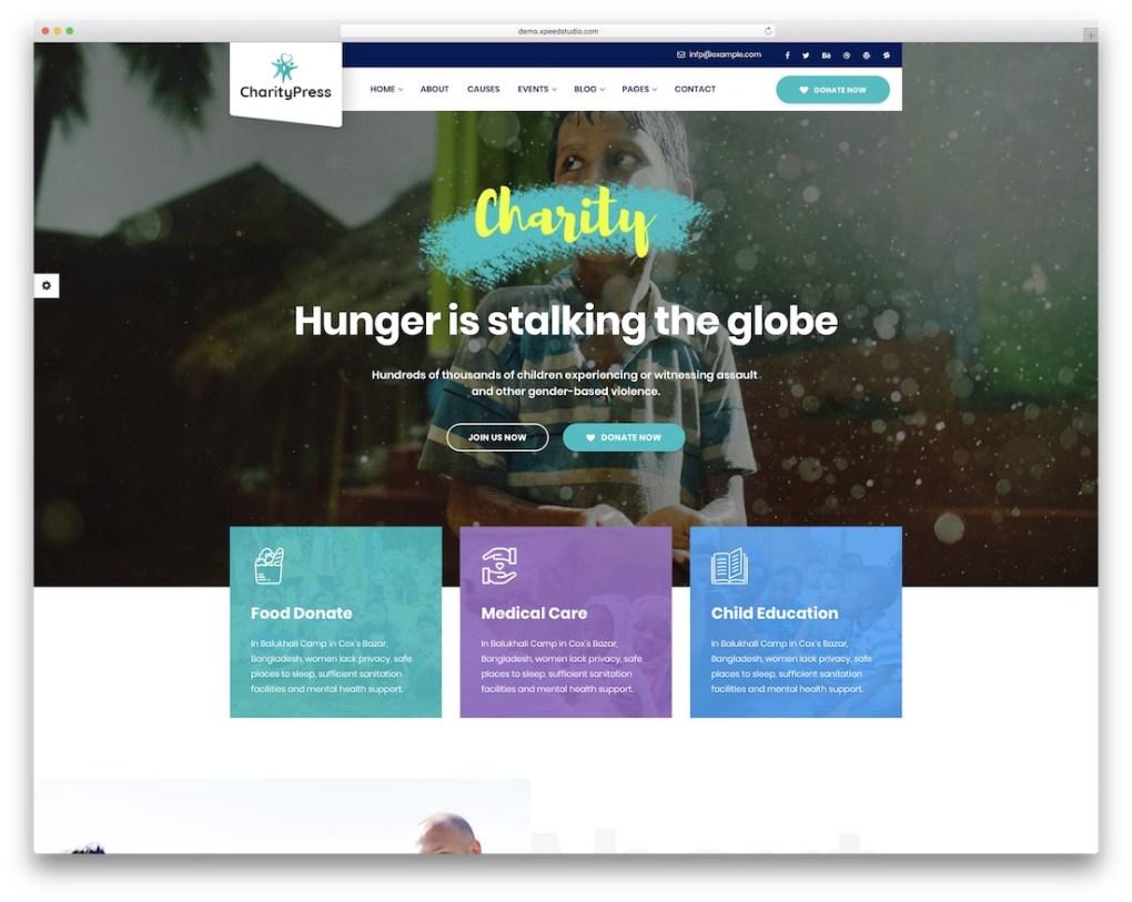 modèle de site Web charitypress