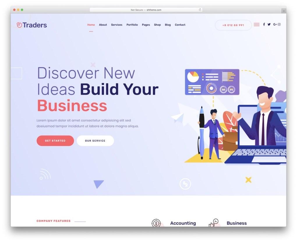 modèle de site Web de démarrage de commerçants