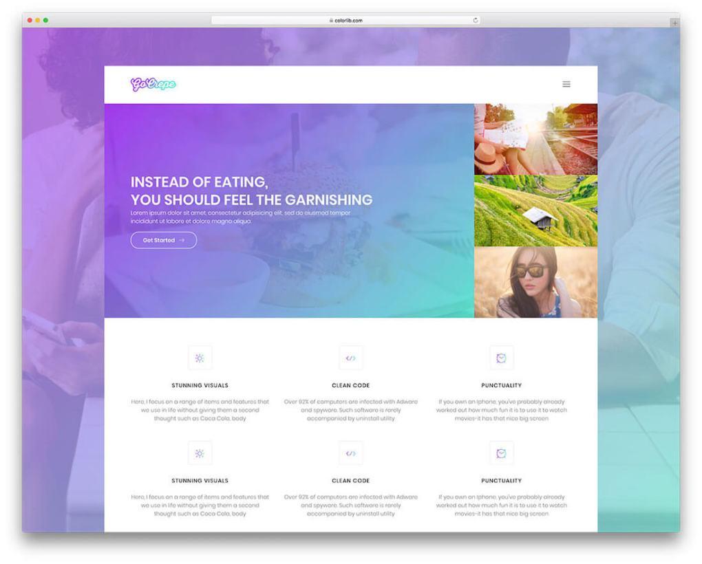 modèle de site Web gratuit de photographie de crêpe