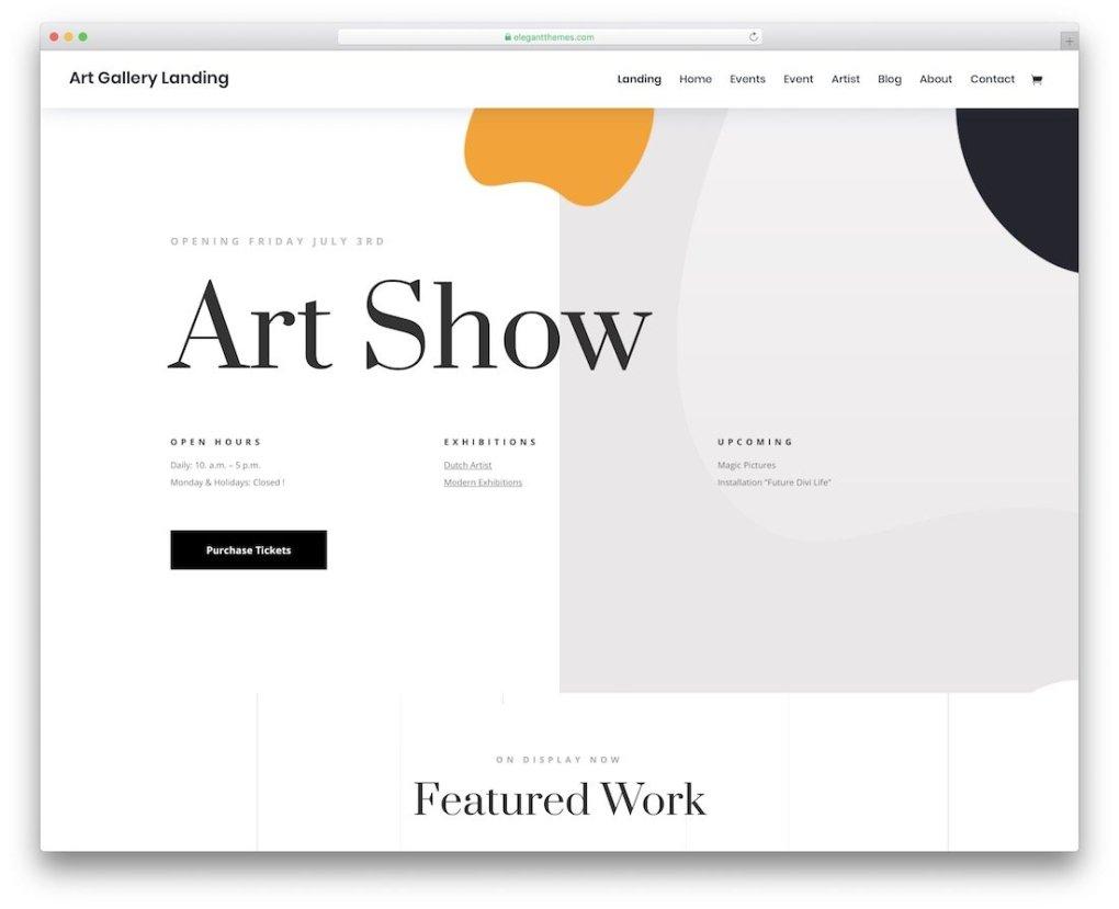 modèle de site de galerie photo divi