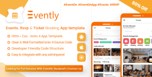 Evently - Event Calender Mobile App Template for EventOn ( HTML - CSS - Android - IOS - IONIC 4)