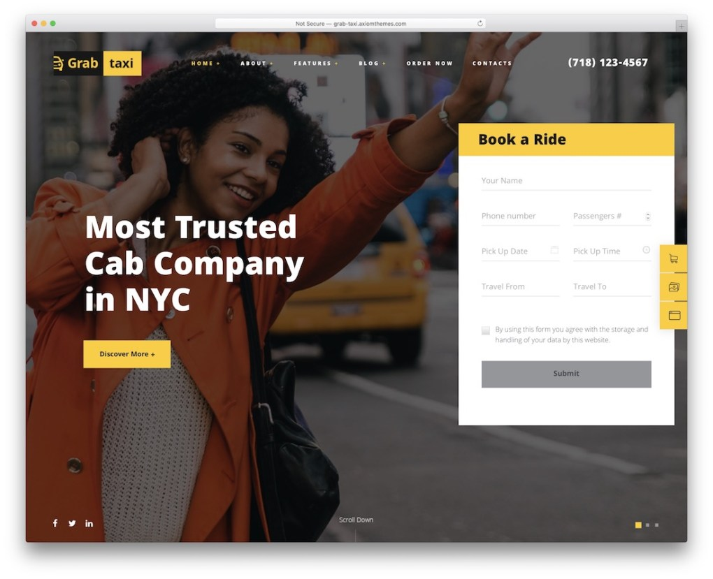 prendre le taxi service de location de voiture thème wordpress