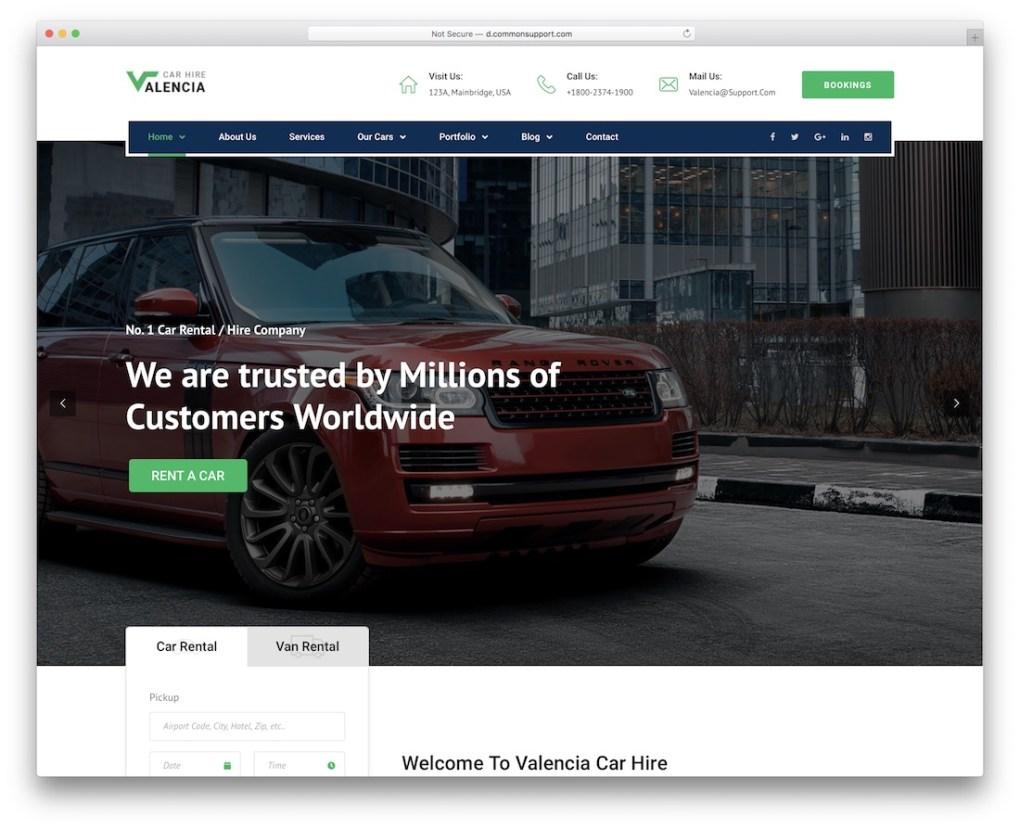 Thème WordPress pour le service de location de voitures de taxi de Valence