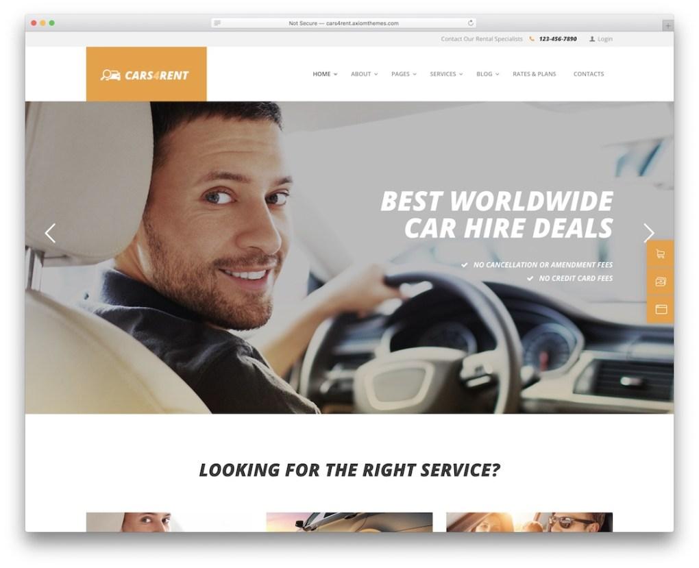 Cars4rent taxi service de location de voiture thème wordpress