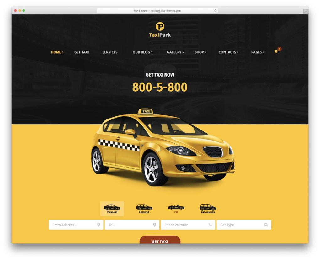 taxipark taxi service de location de voiture thème wordpress