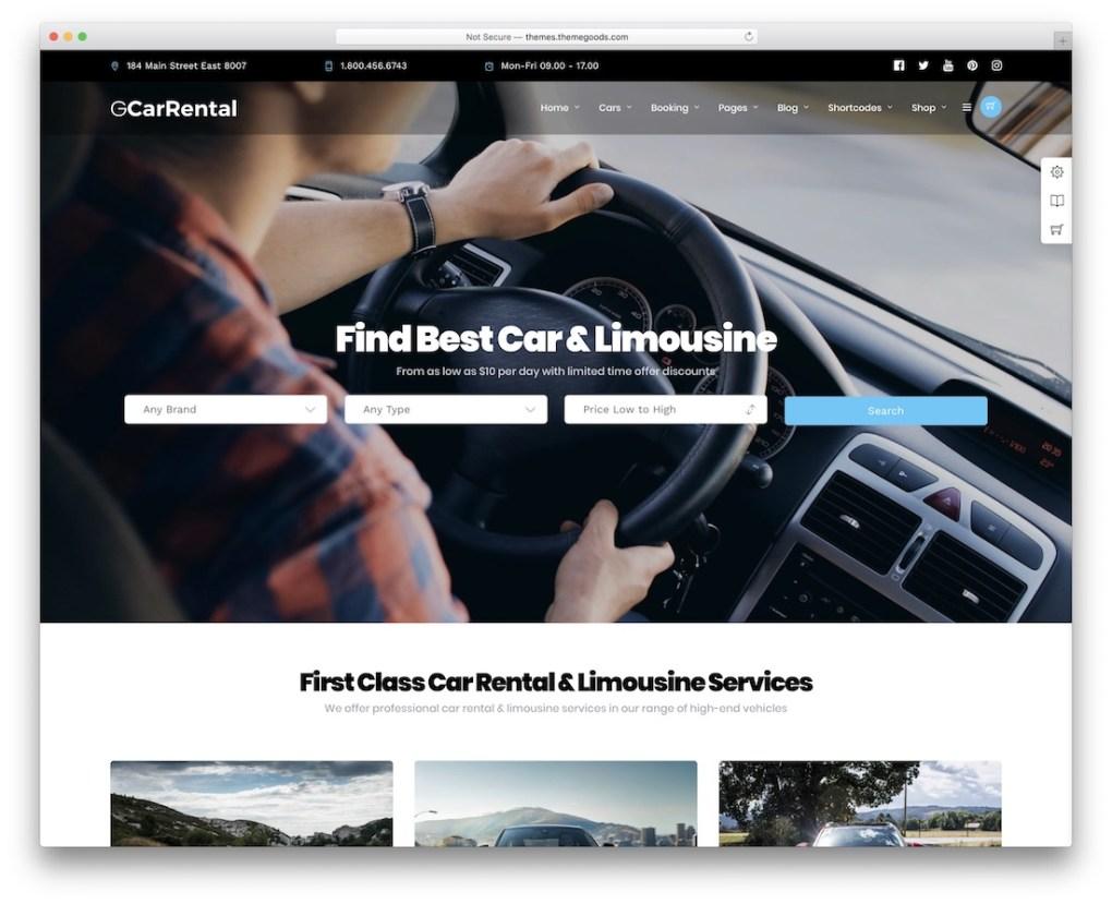 Thème WordPress du service de location de voitures de taxi