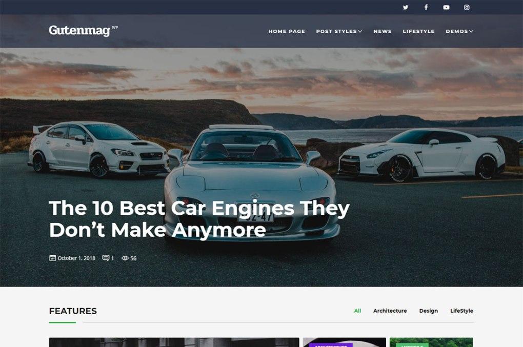 Thèmes WordPress pour le magazine Gutenmag Cars