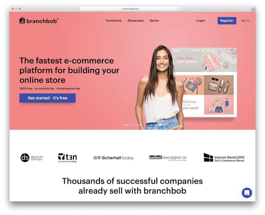 constructeur de site Web de commerce électronique de branchbob