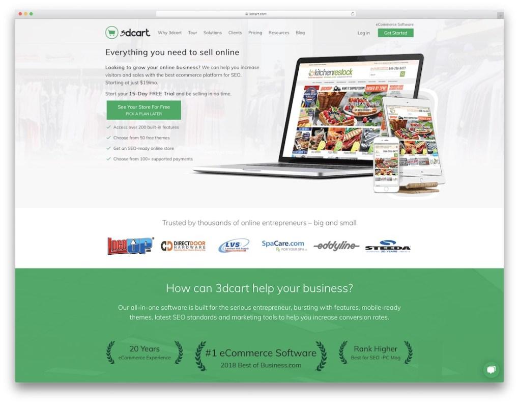Générateur de site Web de commerce électronique 3DCart pas cher