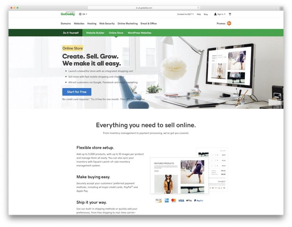 constructeur de site e-commerce pas cher godaddy