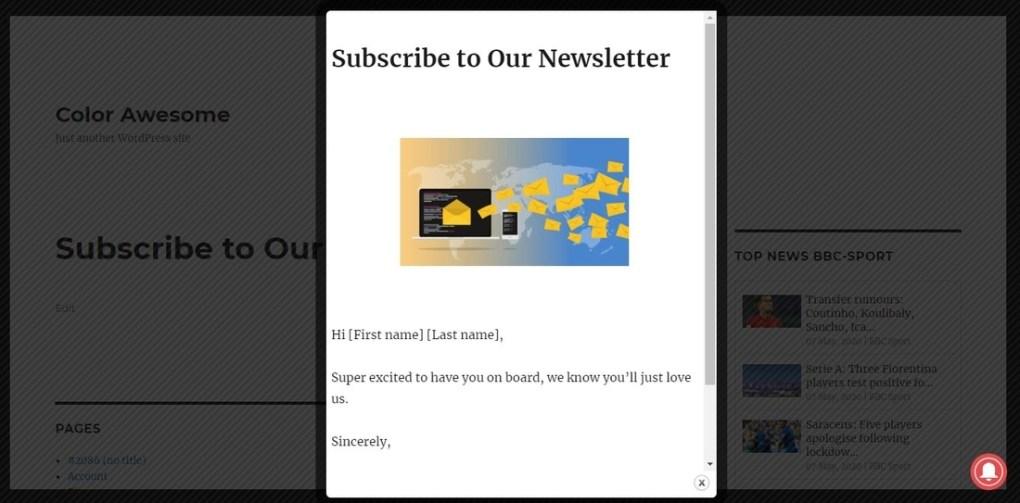 Popup Builder - Réactif WordPress Pop up - Page de démonstration de l'abonnement et de la newsletter