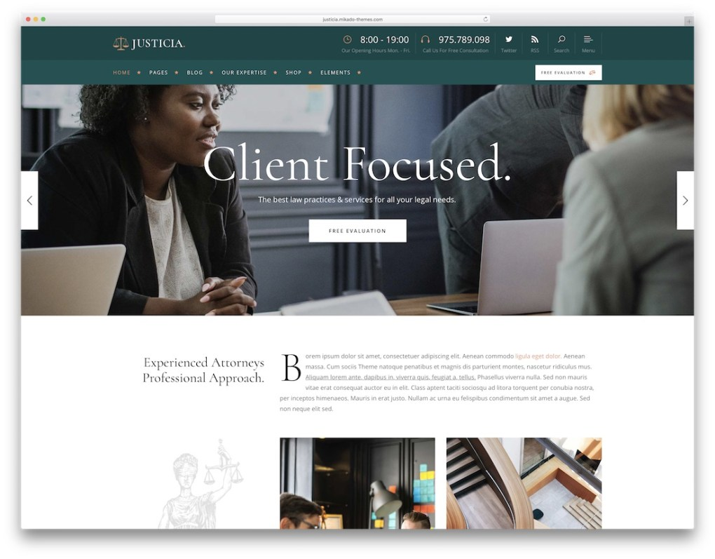 justicia lawyer wordpress theme