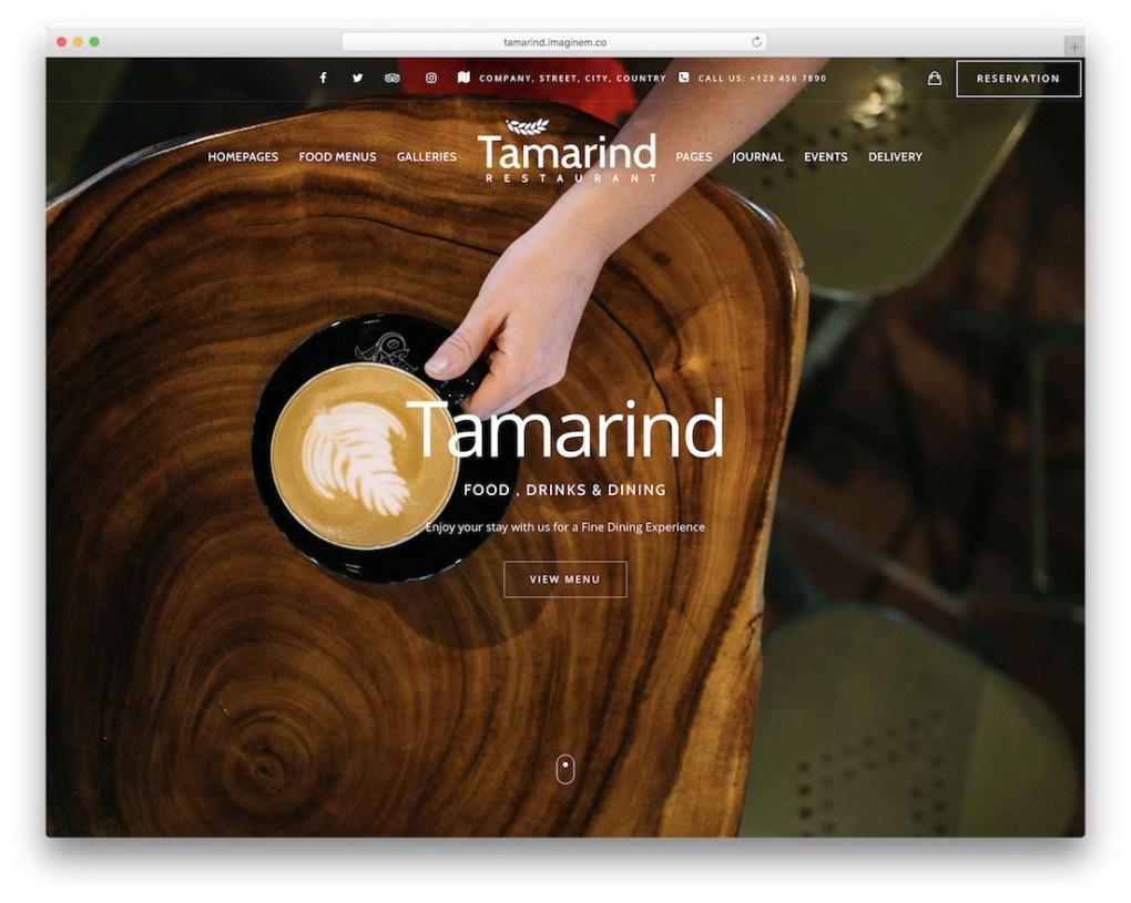 thème wordpress tamarin café