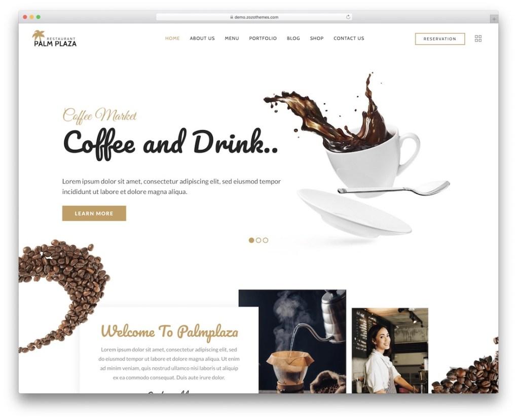 thème wordpress palmplaza café