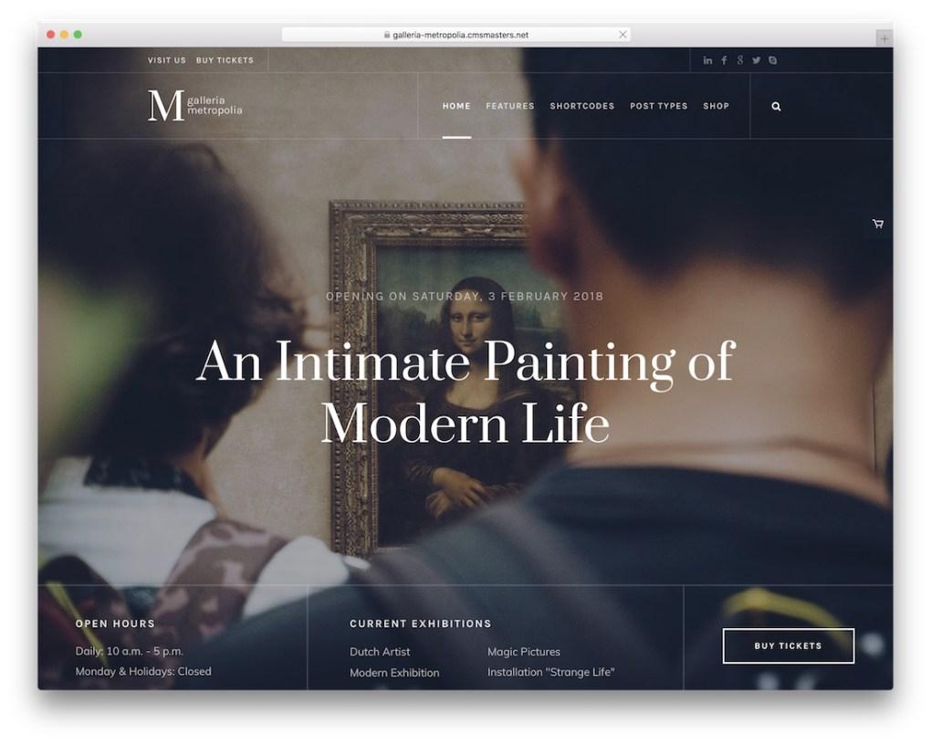thème art wordpress galleria metropolia