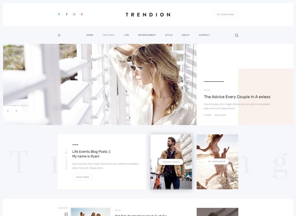 Trendion | Un blog de style de vie personnel et un thème WordPress pour magazine