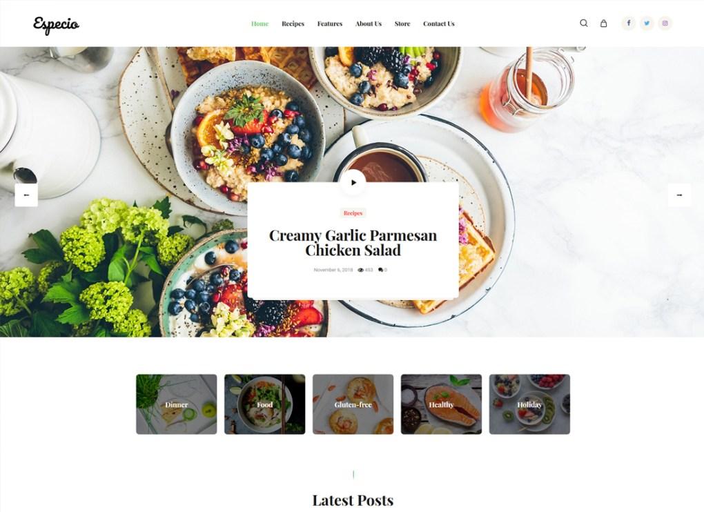Especio | Thème WordPress pour le blog Gutenberg Food