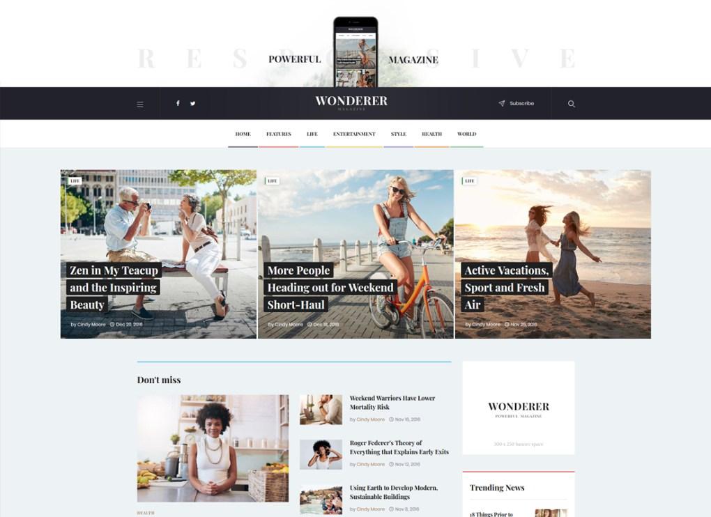 Wonderer | Blog personnel et revue Thème WordPress Magazine