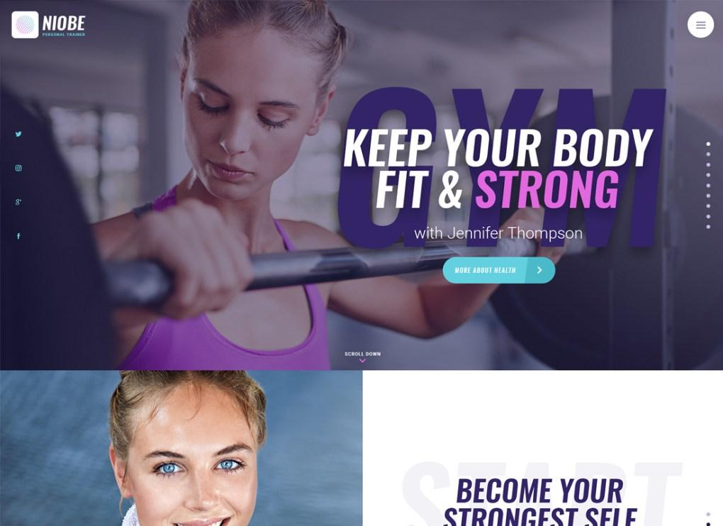 Niobe | Un thème WordPress pour entraîneur de gym et coach en nutrition
