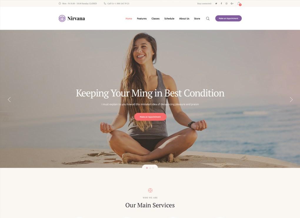 Nirvana | Thème WordPress pour studio de yoga et club de fitness