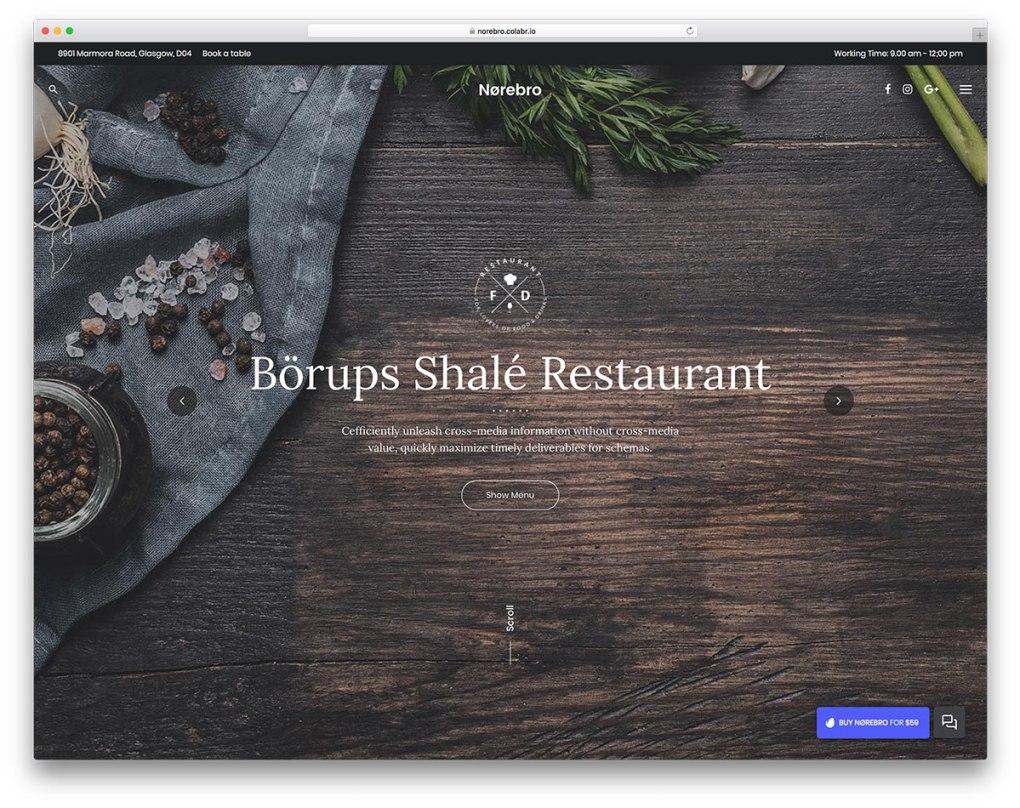 Thème WordPress pour restaurant en plein écran