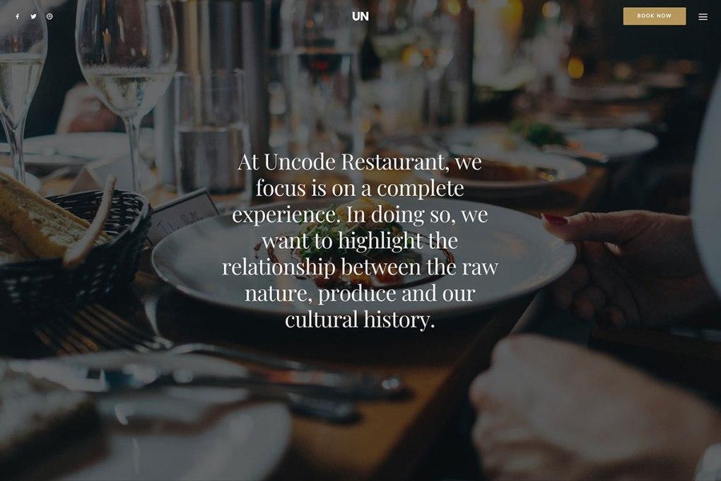 Uncode - Thème WordPress de restaurant moderne