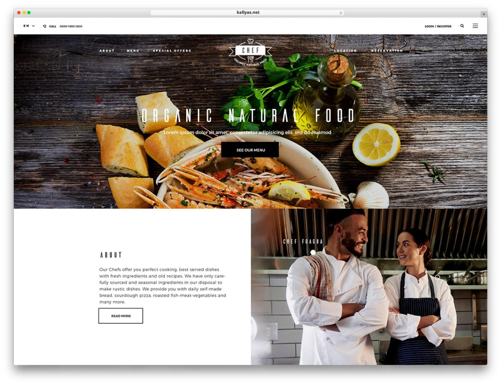KALLYAS - conception classique de sites Web pour les restaurants